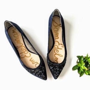nwot sam edelman blue cindi leather bead flats 10